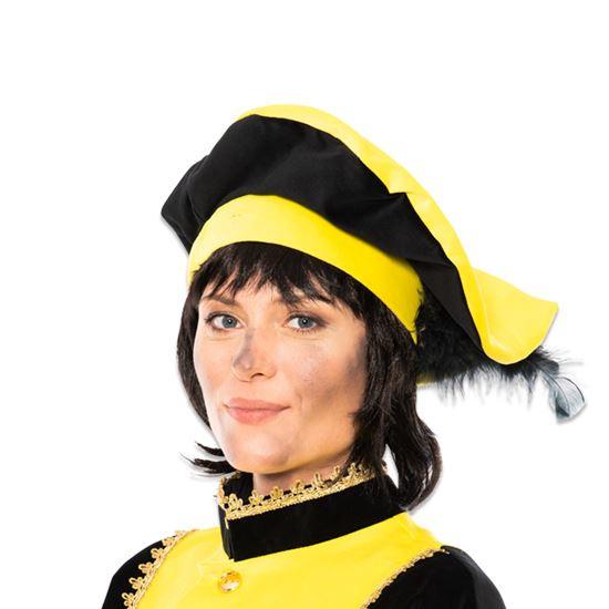 Baret Piet fluweel met veer geel/zwart