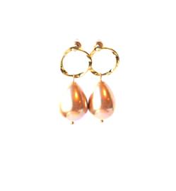 oorbellen met oorsteker goldplated en schelp parel champagne