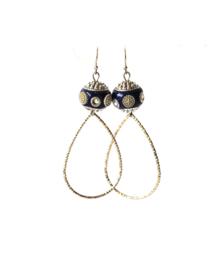 Oorbellen bohemian blauw/zilver met druppel middelgroot