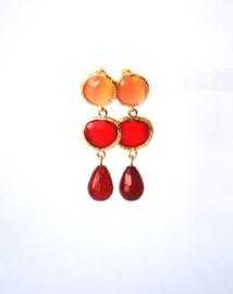 Oorbellen met tussenstuk crystal rood, oorsteker cateye oranje en agaat rood