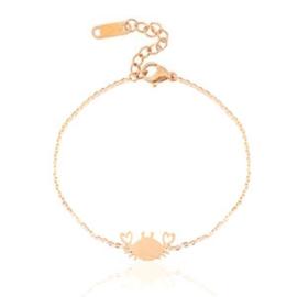 Armbandje stainless steel rose gold crab