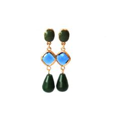 Oorbellen met tussenstuk crystal blauw, oorsteker en druppel agaat groen