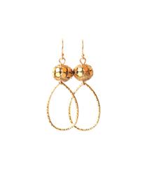oorbellen bohemian goud met druppel klein