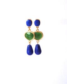 Oorbellen met tussenstuk crystal groen, oorsteker en agaat blauw
