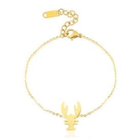 Armbandje  stainless steel gold met lobster