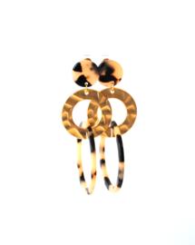 Oorbellen leopard print crème/black en goldplated gouden ring