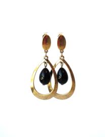 Oorbellen met zwarte crystalparel en oud goud