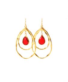Oorbellen met hanger goldplated en crystal rood