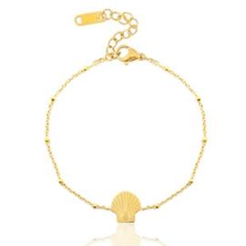 Armbandje stainless steel gold schelp