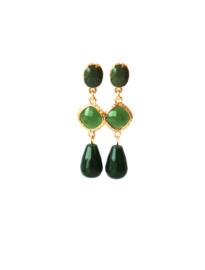 Oorbellen met tussenstuk crystal groen, oorsteker en agaat groen