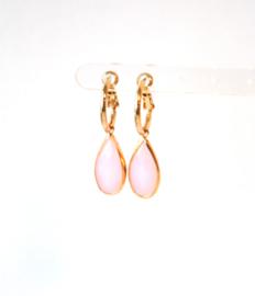 Oorbellen creool goud en crystal hanger roze