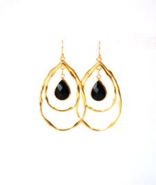Oorbellen met hanger goldplated en crystal zwart