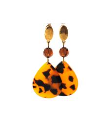 Oorbellen met swarovski crystal bruin en hanger leopard print