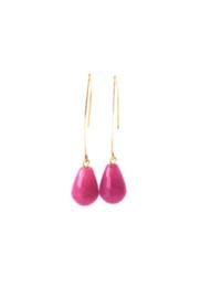 Ellips oorbellen met agaat oud roze