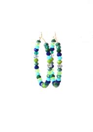Creolen met crystals blauw/groen
