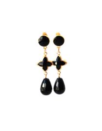 Oorbellen met oorsteker, tussenstuk zwart en onyx