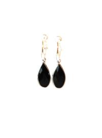 Oorbellen creool verzilverd en crystal hanger zwart