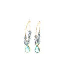 Oorbellen met swaroski crystal lichtblauw