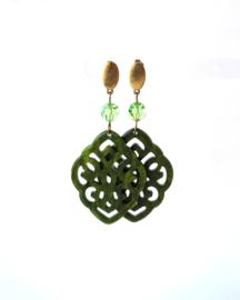 Oorbellen met swarovski crystal groen en hanger  resin groen
