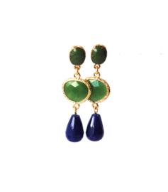 Oorbellen met oorsteker en crystal groen en druppel agaat blauw