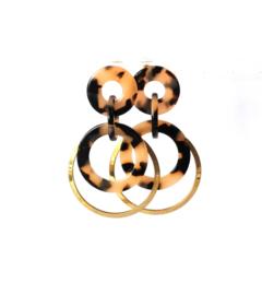 Oorbellen leopard print crème/black en goldplated ring oud goud