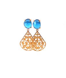 oorbellen met oorsteker cateye blauw en hanger goldplated