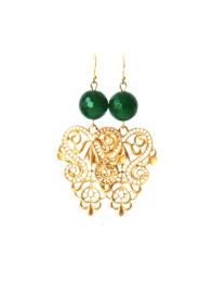 Oorbellen met agaat groen en ornament