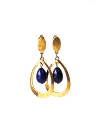Oorbellen met blauwe crystalparel en oud goud