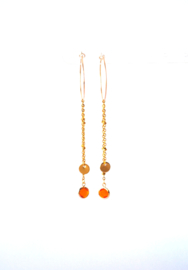 Creool met kettinkjes stainless steel en crystal oranje