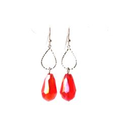 Oorbellen met crystal rood
