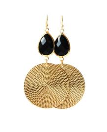 Oorbellen met kristalglas zwart goud