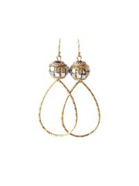 oorbellen bohemian goud/zilver met druppel goud middelgroot