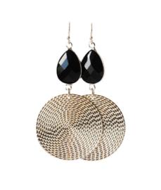Oorbellen met kristalglas zwart rhodium