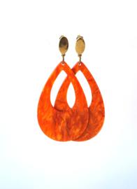 Oorbellen met hanger resin terracotta