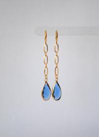 Oorbellen met ketting stainless steel en crystal blauw