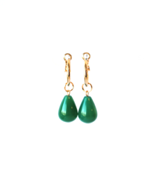 Creool goldplated met agaat groen
