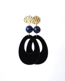 Oorbellen met lapis lazuli en velvet hanger donkerblauw