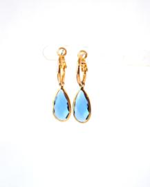 Oorbellen creool goud en crystal hanger blauw