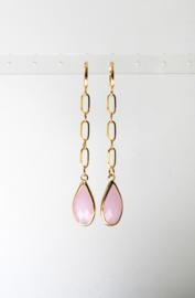 Oorbellen met ketting stainless steel en crystal roze