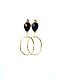 Oorbellen met oorsteker crystal zwart en hanger goldplated
