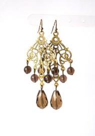 Oorbellen chandelier met rookkwarts