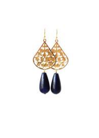 oorbellen met filigrain druppel en lapis lazuli