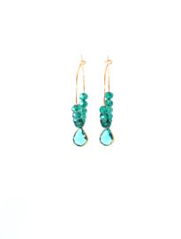Oorbellen met swaroski crystal turquoise