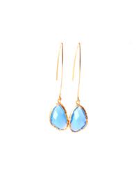 Ellips oorbellen met crystal blauw