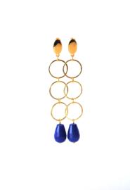 Oorbellen 3 ringen goldplated en agaat blauw