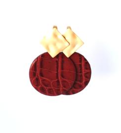 Oorbellen met hanger bordeaux rood leer en oorsteker goldplated