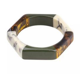 Armband gelakt hars bruin, marmer, groen