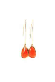 Ellips oorbellen met crystal oranje