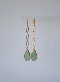 Oorbellen met ketting stainless steel en crystal turquoise/groen