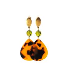 Oorbellen met swarovski crystal groen en hanger leopard print